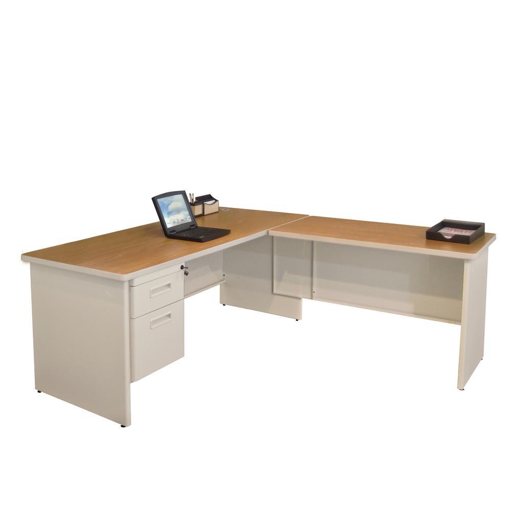 Pronto Desk with Return, Single Hanging Pedestal72W x 78D:Putty/Oak. Picture 1