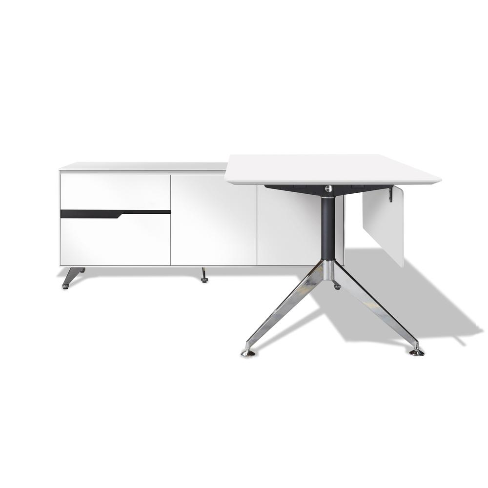 White 482 Exe.Desk with LSF Return. Picture 1
