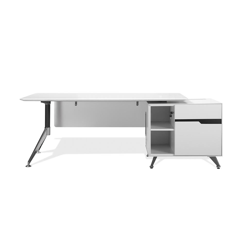 White 484 Exe.Desk with RSF Return. Picture 1