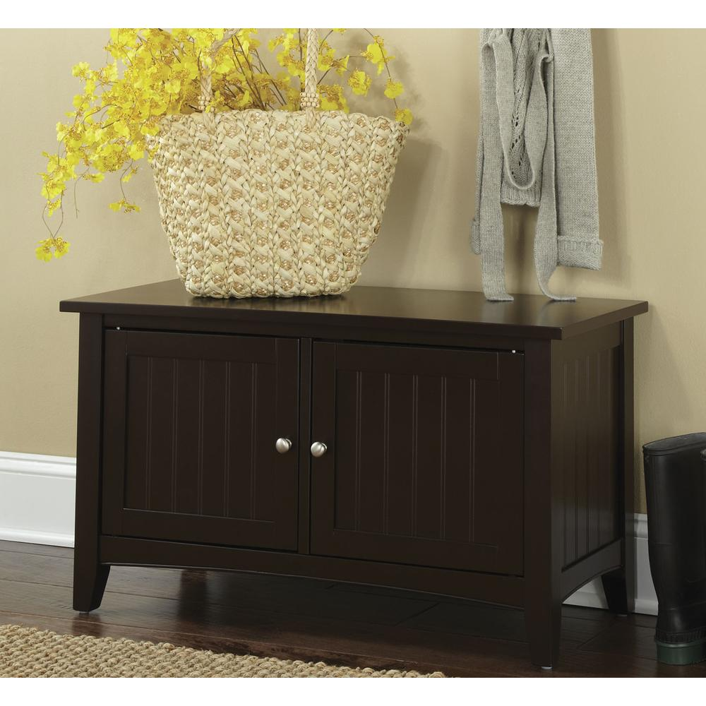 Shaker Cottage Storage Cabinet Bench, Chocolate. Picture 3