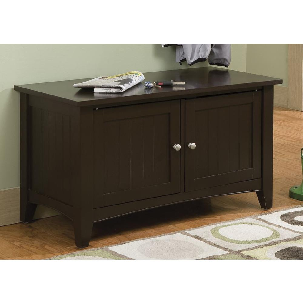Shaker Cottage Storage Cabinet Bench, Chocolate. Picture 4