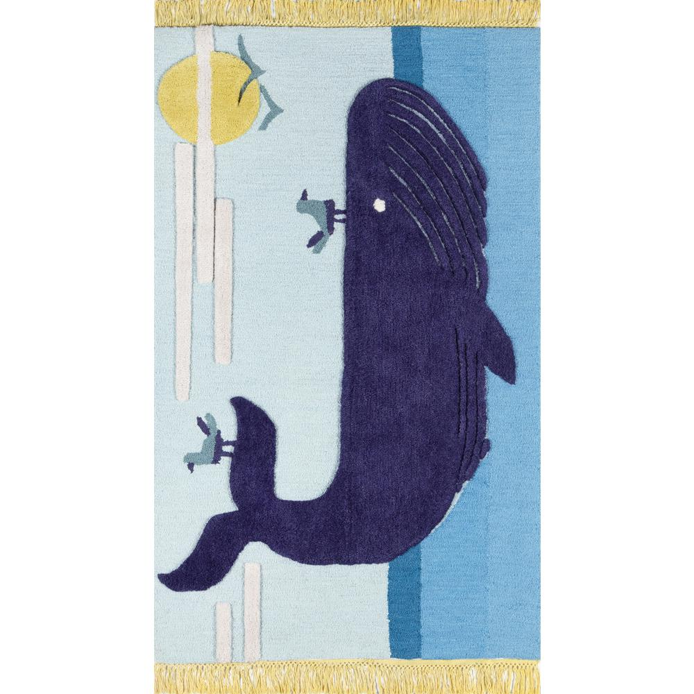 Atticus Area Rug, Blue, 5' X 7'. The main picture.