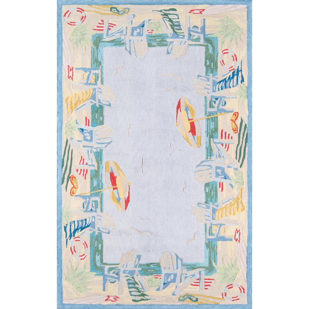 Coastal Area Rug, Light Blue, 4' X 6'. Picture 1