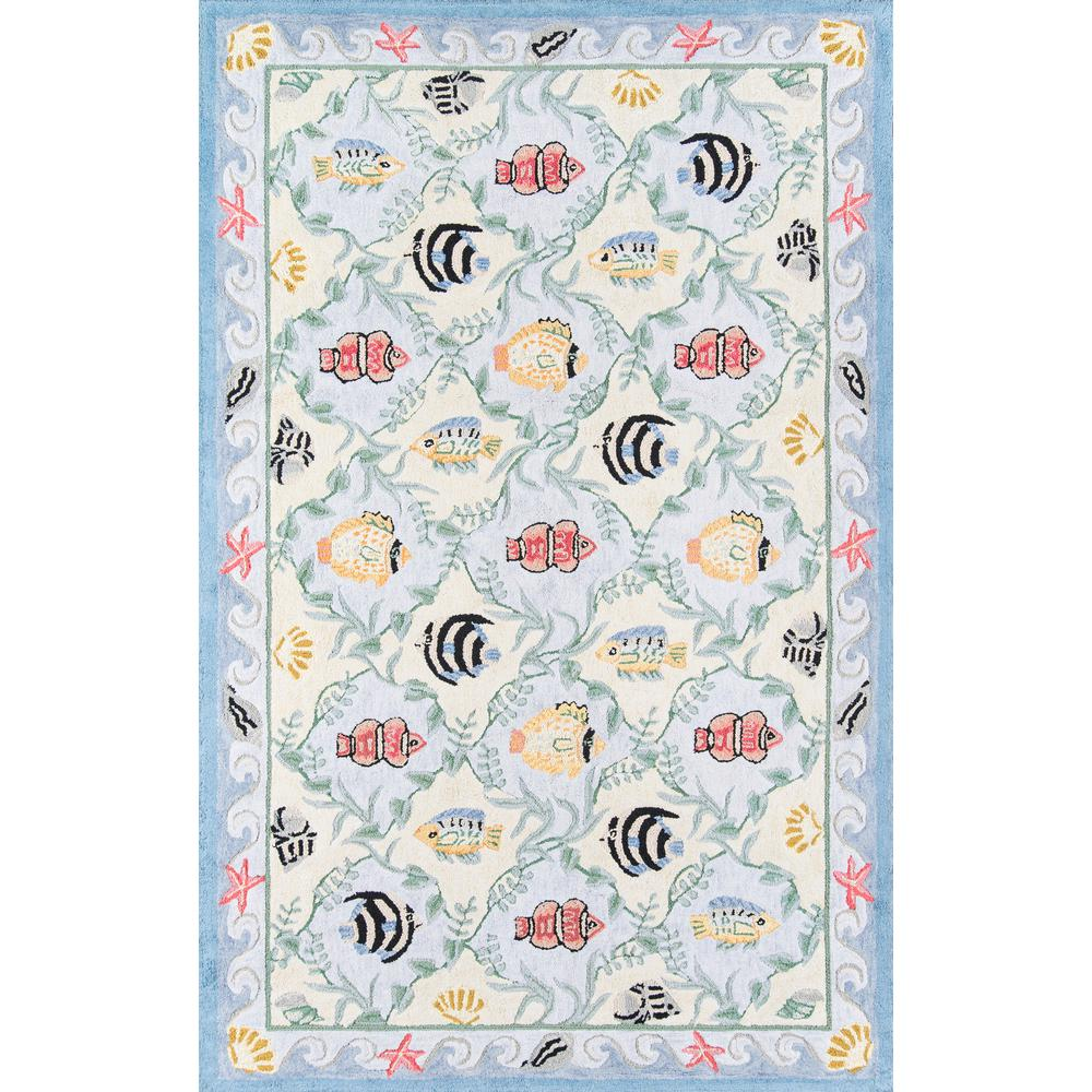 """Coastal Area Rug, Blue, 2'6"""" X 8' Runner. Picture 1"""