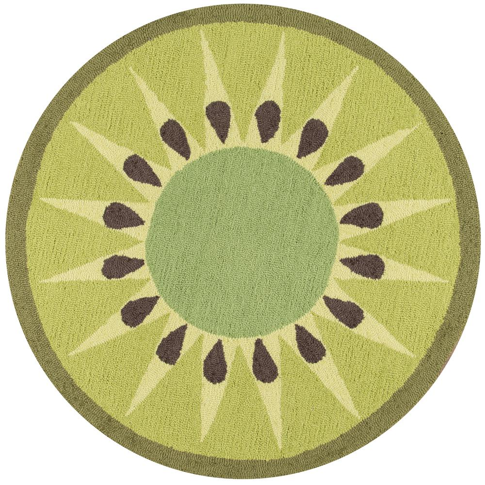 Cucina Area Rug, Green, 3' X 3' Round. Picture 1