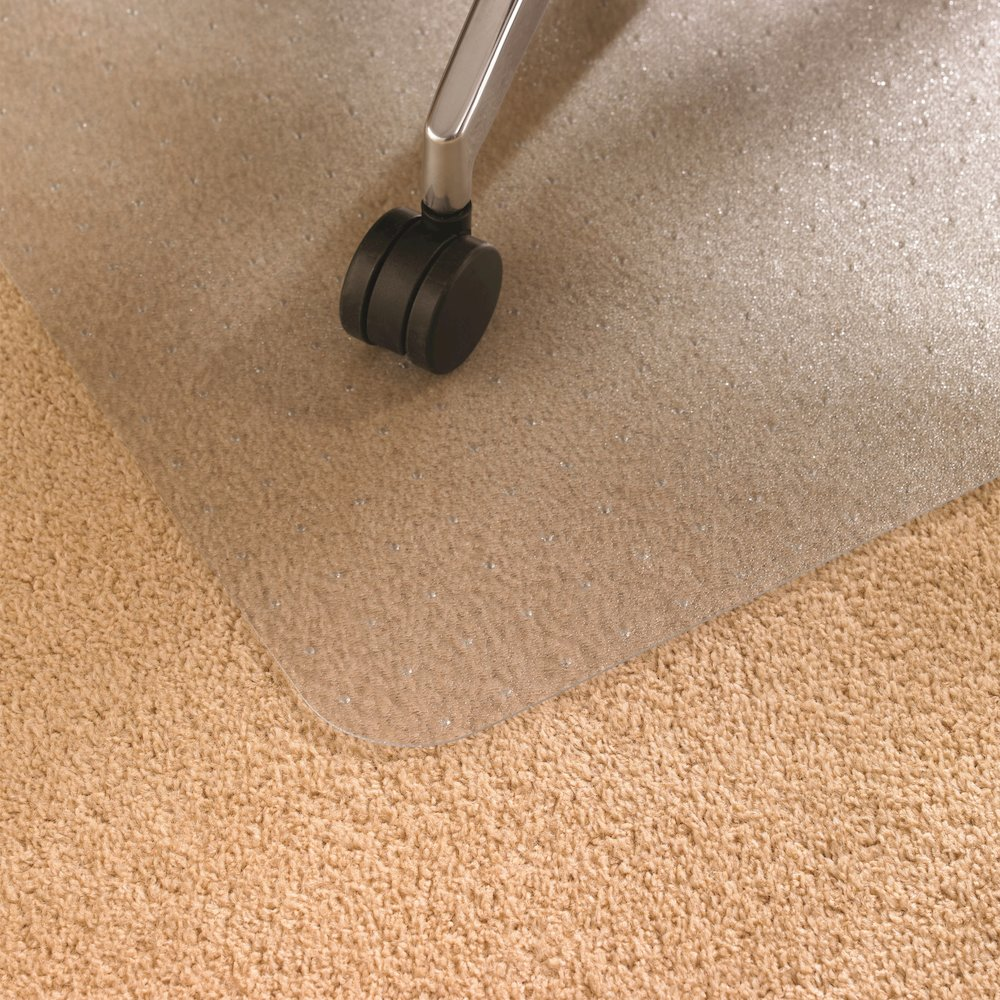 "Cleartex Ultimat Square Chair Mat, Polycarbonate, For Low & Medium Pile Carpets (up to 1/2""), Size 48"" x 48"". Picture 2"