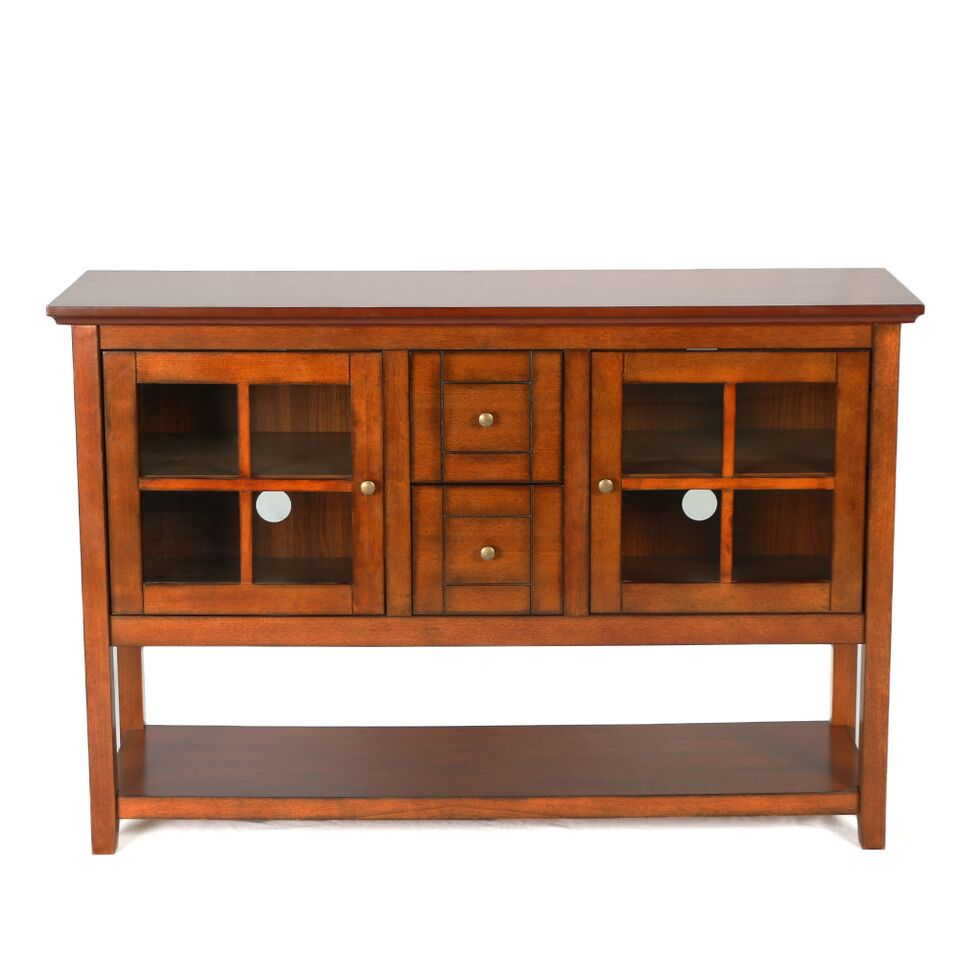 52 wood console table tv stand rustic brown. Black Bedroom Furniture Sets. Home Design Ideas