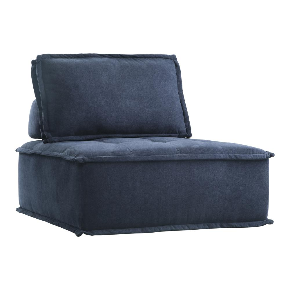 Fabric Armless Chair, Blue. Picture 1