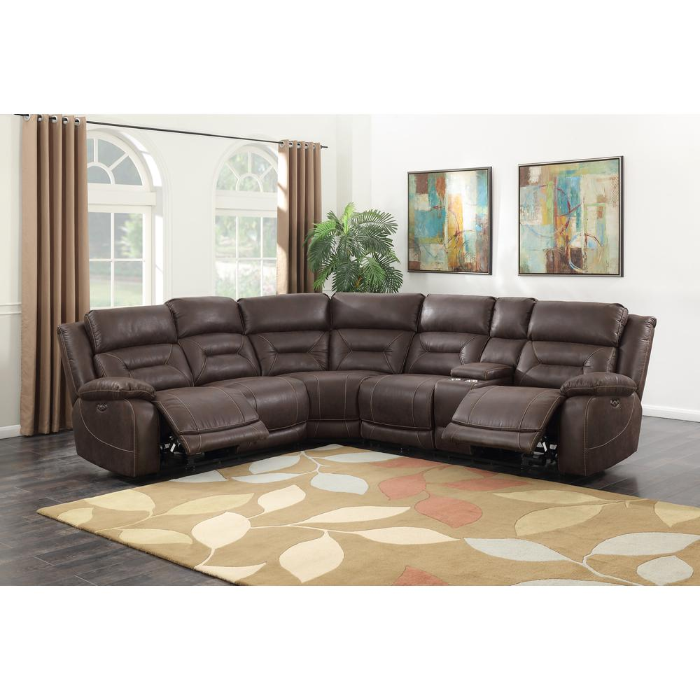 3PC Reclining Sectional - Saddle Brown, Saddle Brown. Picture 1
