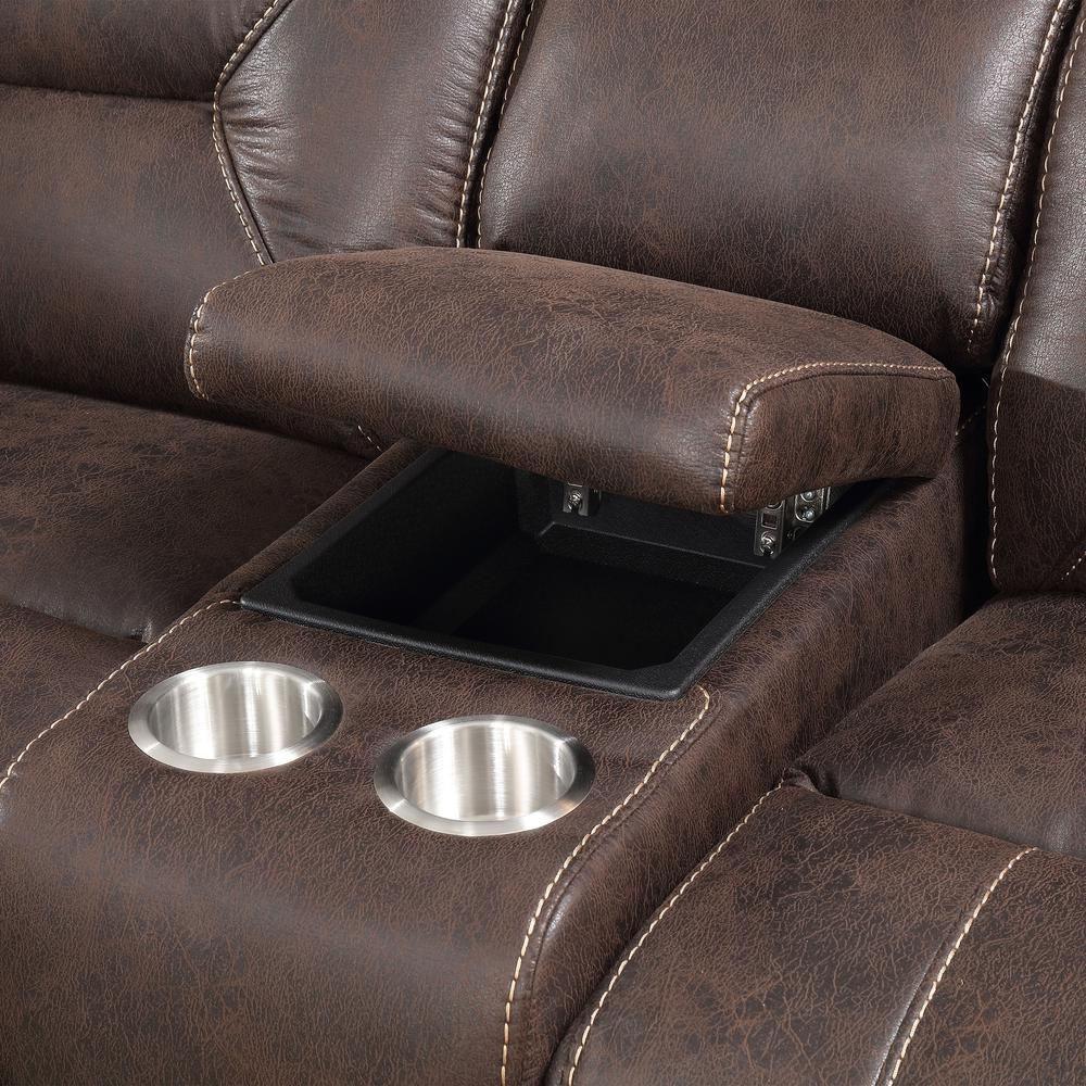 3PC Reclining Sectional - Saddle Brown, Saddle Brown. Picture 2