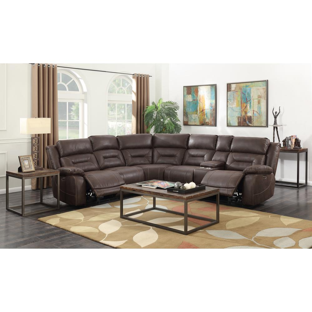 3PC Reclining Sectional - Saddle Brown, Saddle Brown. Picture 3