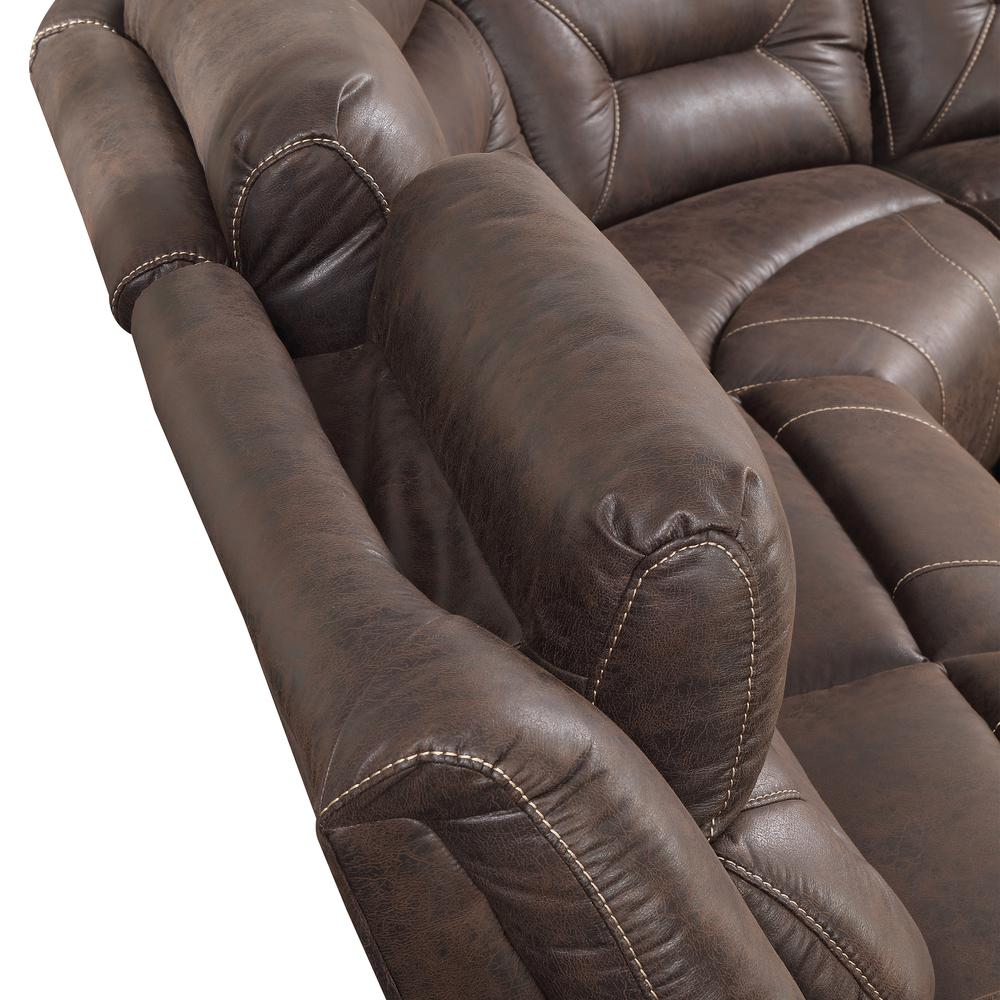 3PC Reclining Sectional - Saddle Brown, Saddle Brown. Picture 6