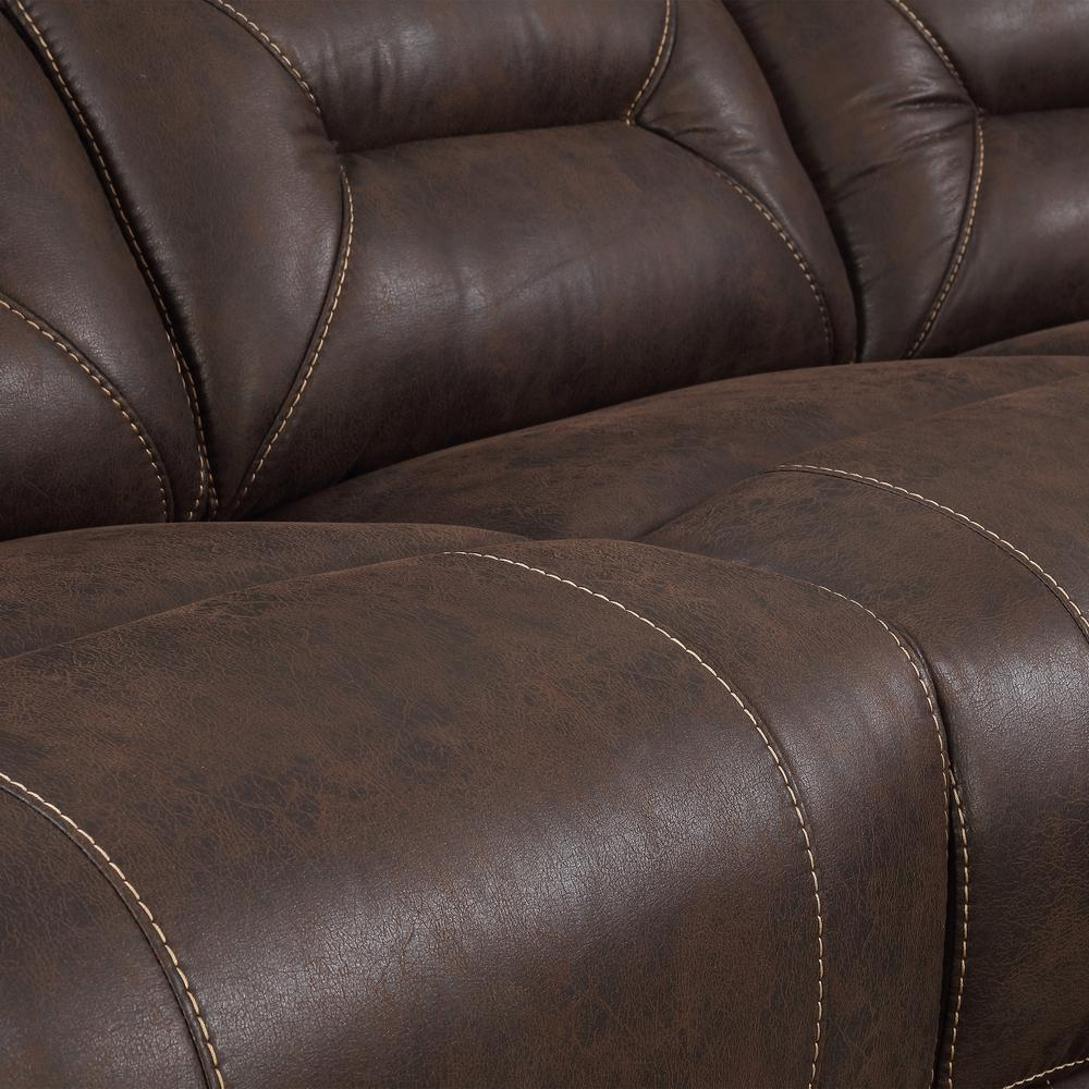 3PC Reclining Sectional - Saddle Brown, Saddle Brown. Picture 7