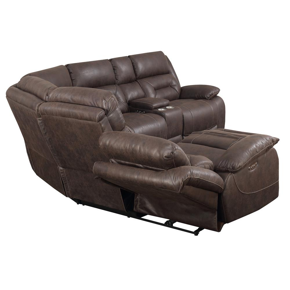 3PC Reclining Sectional - Saddle Brown, Saddle Brown. Picture 8