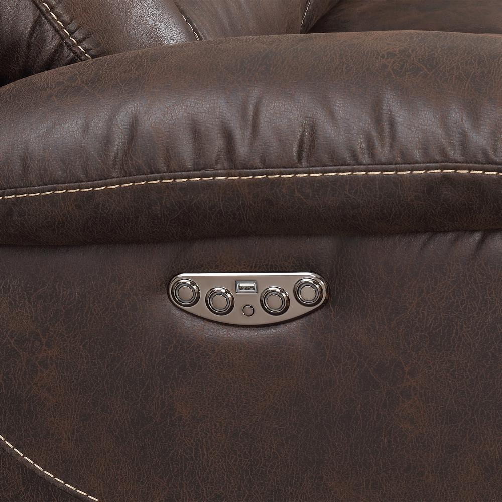 3PC Reclining Sectional - Saddle Brown, Saddle Brown. Picture 9