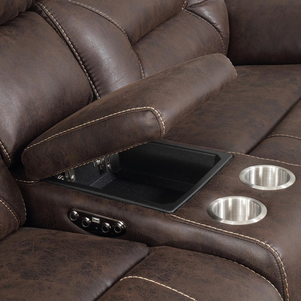 3PC Reclining Sectional - Saddle Brown, Saddle Brown. Picture 10