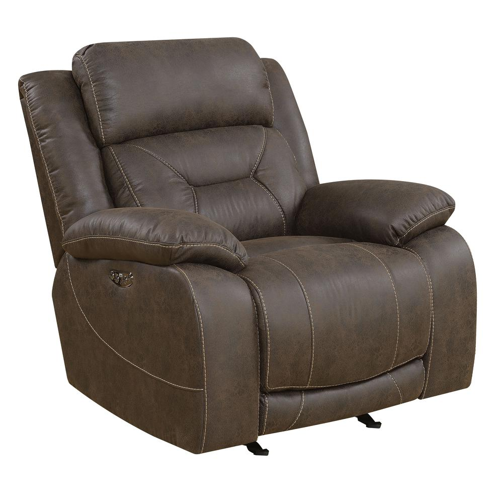 Power Glider Recliner w/ Power Head Rest - Saddle Brown, Saddle Brown. Picture 1