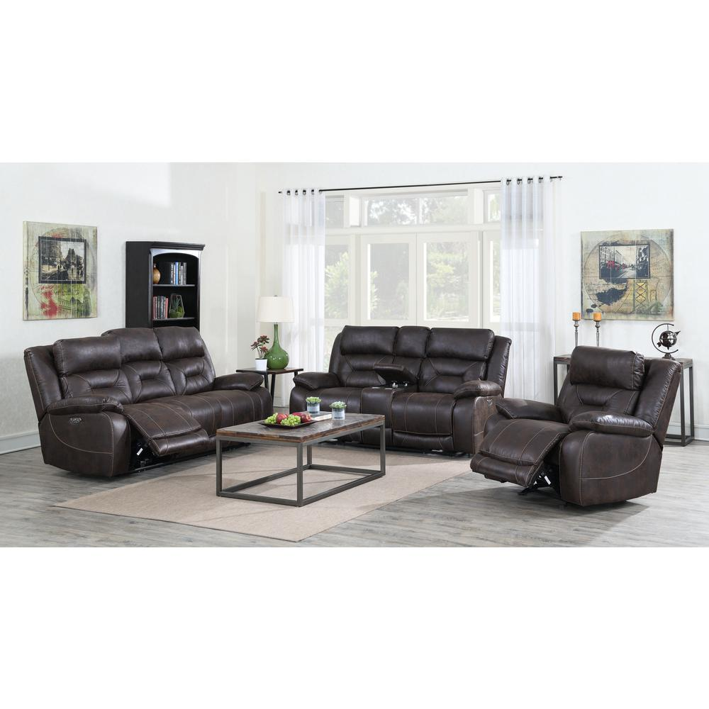 Power Glider Recliner w/ Power Head Rest - Saddle Brown, Saddle Brown. Picture 2