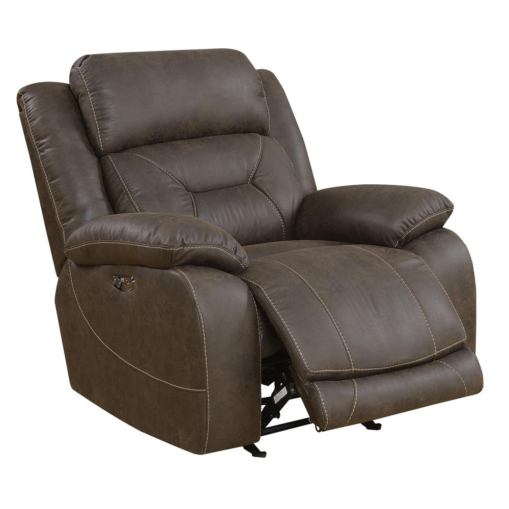 Power Glider Recliner w/ Power Head Rest - Saddle Brown, Saddle Brown. Picture 3
