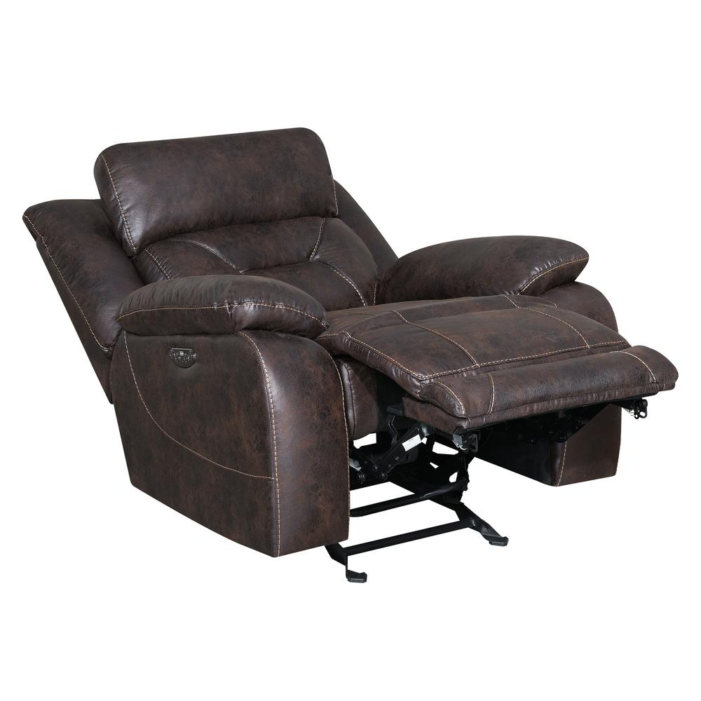 Power Glider Recliner w/ Power Head Rest - Saddle Brown, Saddle Brown. Picture 4