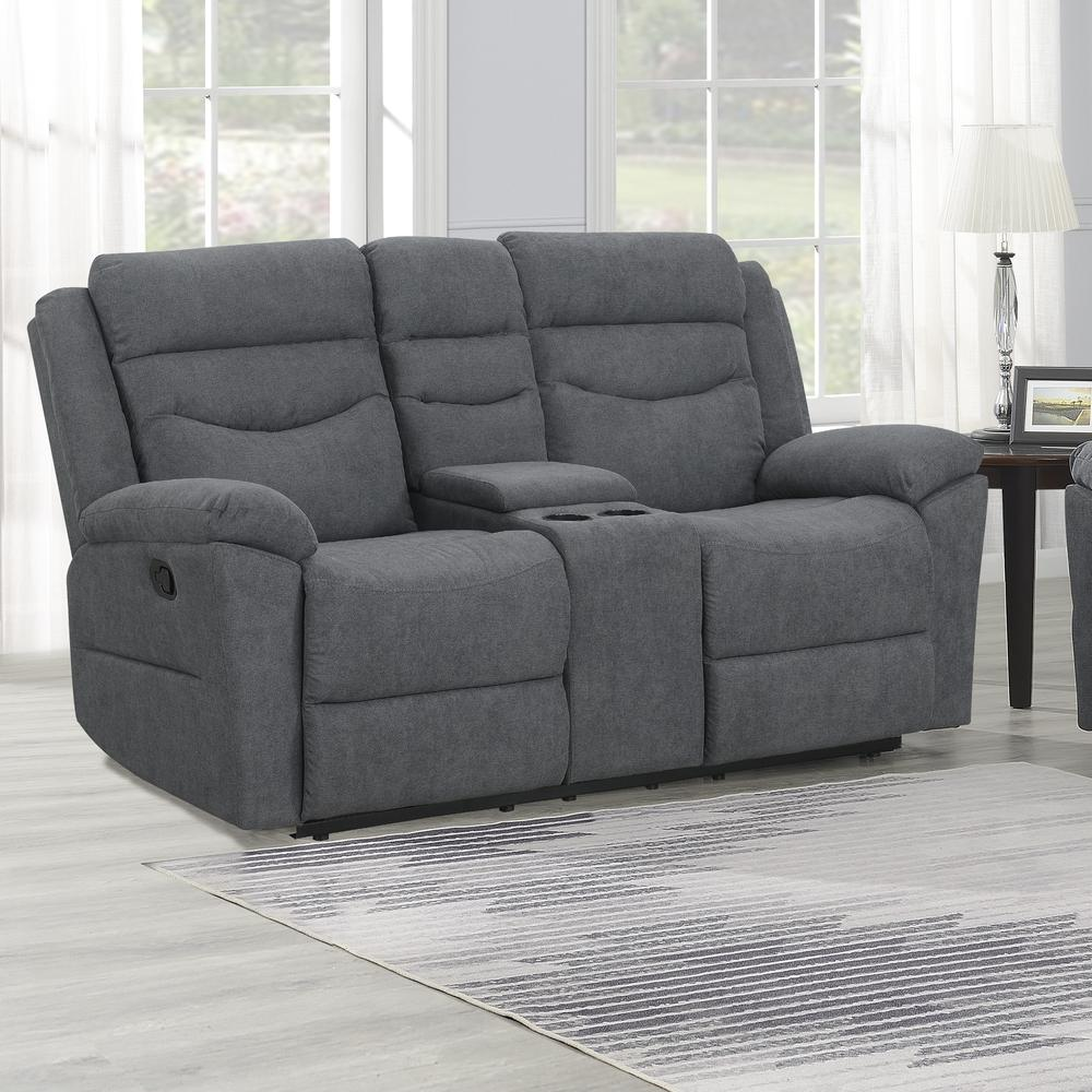 Chenango Manual Motion Loveseat with Console Dark Grey. Picture 1