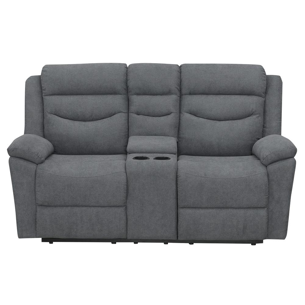 Chenango Manual Motion Loveseat with Console Dark Grey. Picture 4