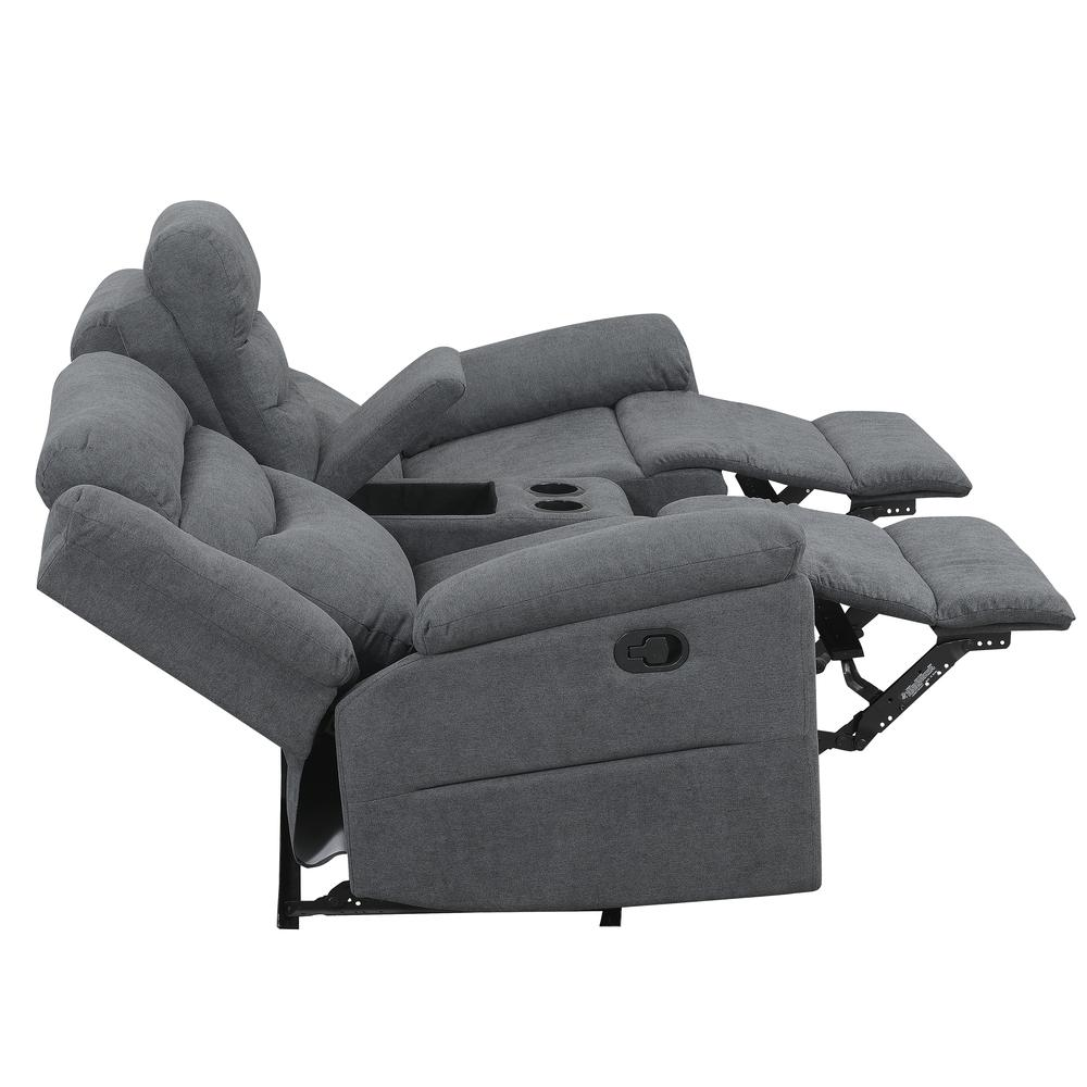 Chenango Manual Motion Loveseat with Console Dark Grey. Picture 6
