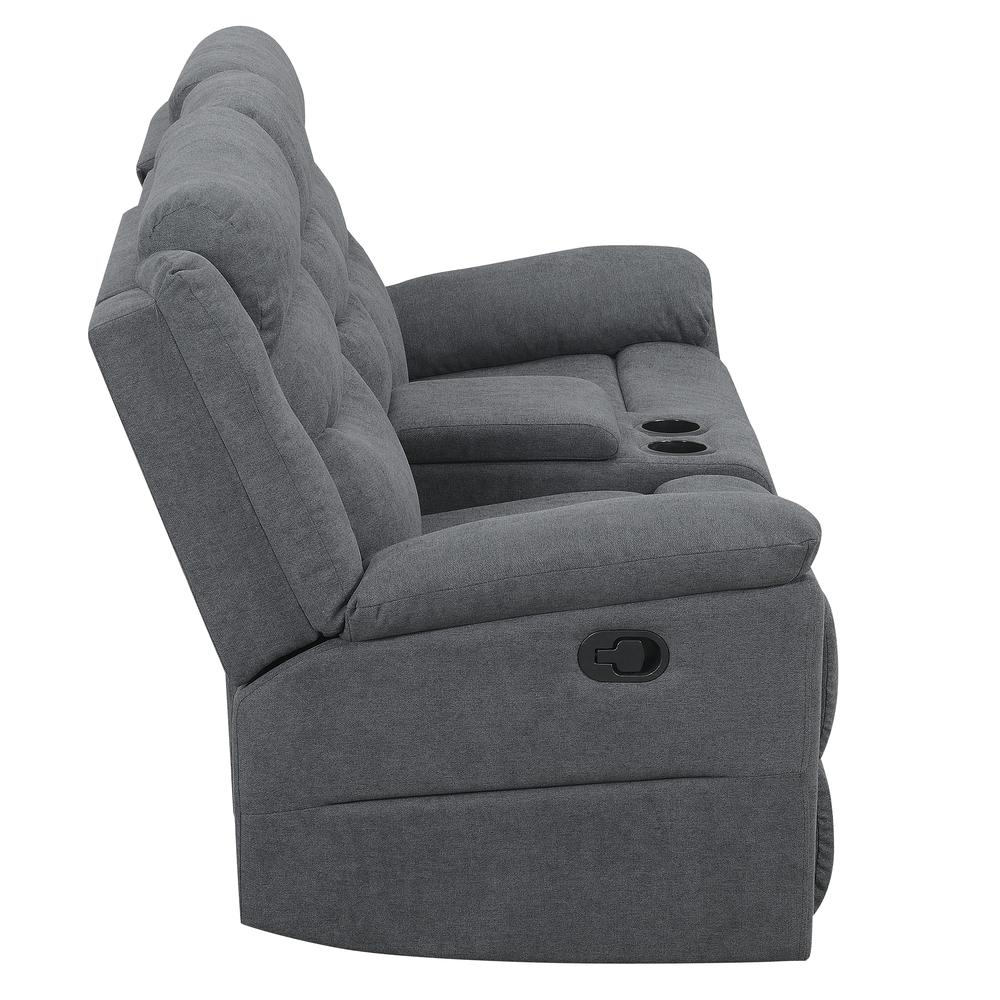 Chenango Manual Motion Loveseat with Console Dark Grey. Picture 7
