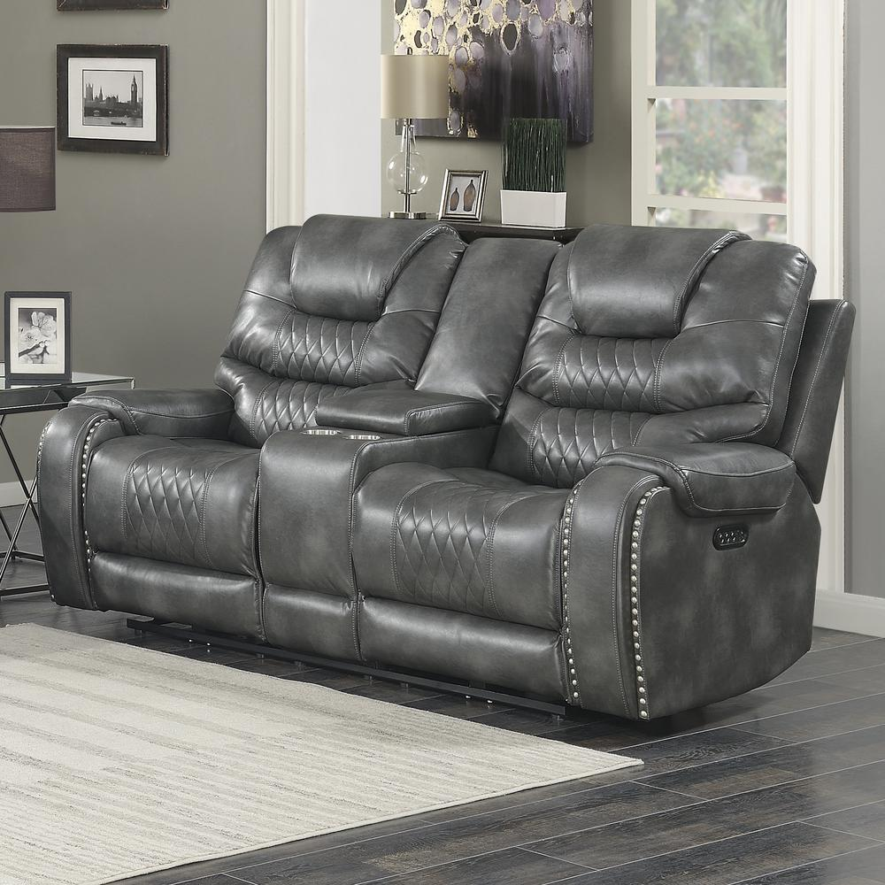 Power Reclining Loveseat with Console - Grey, Grey vinyl. Picture 1