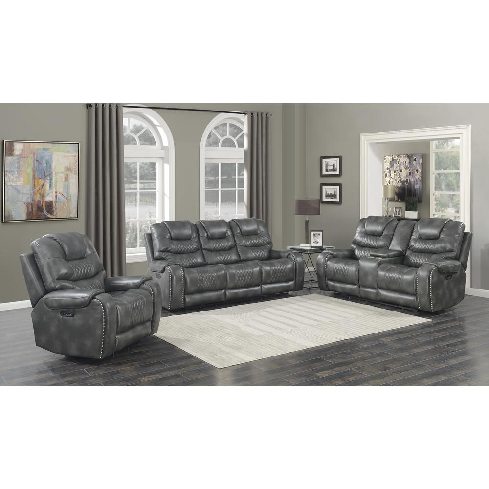 Power Reclining Loveseat with Console - Grey, Grey vinyl. Picture 2