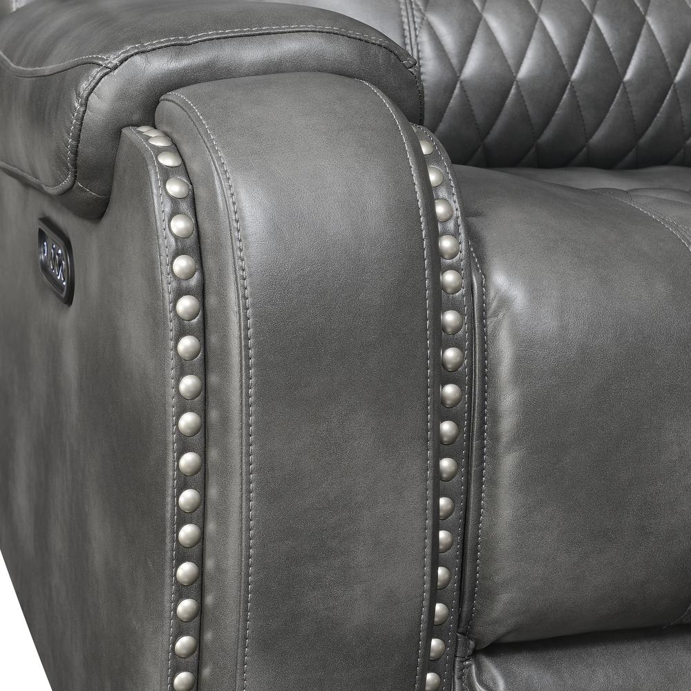 Power Reclining Loveseat with Console - Grey, Grey vinyl. Picture 3