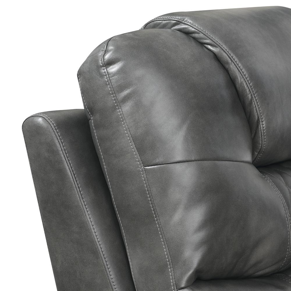 Power Reclining Loveseat with Console - Grey, Grey vinyl. Picture 5