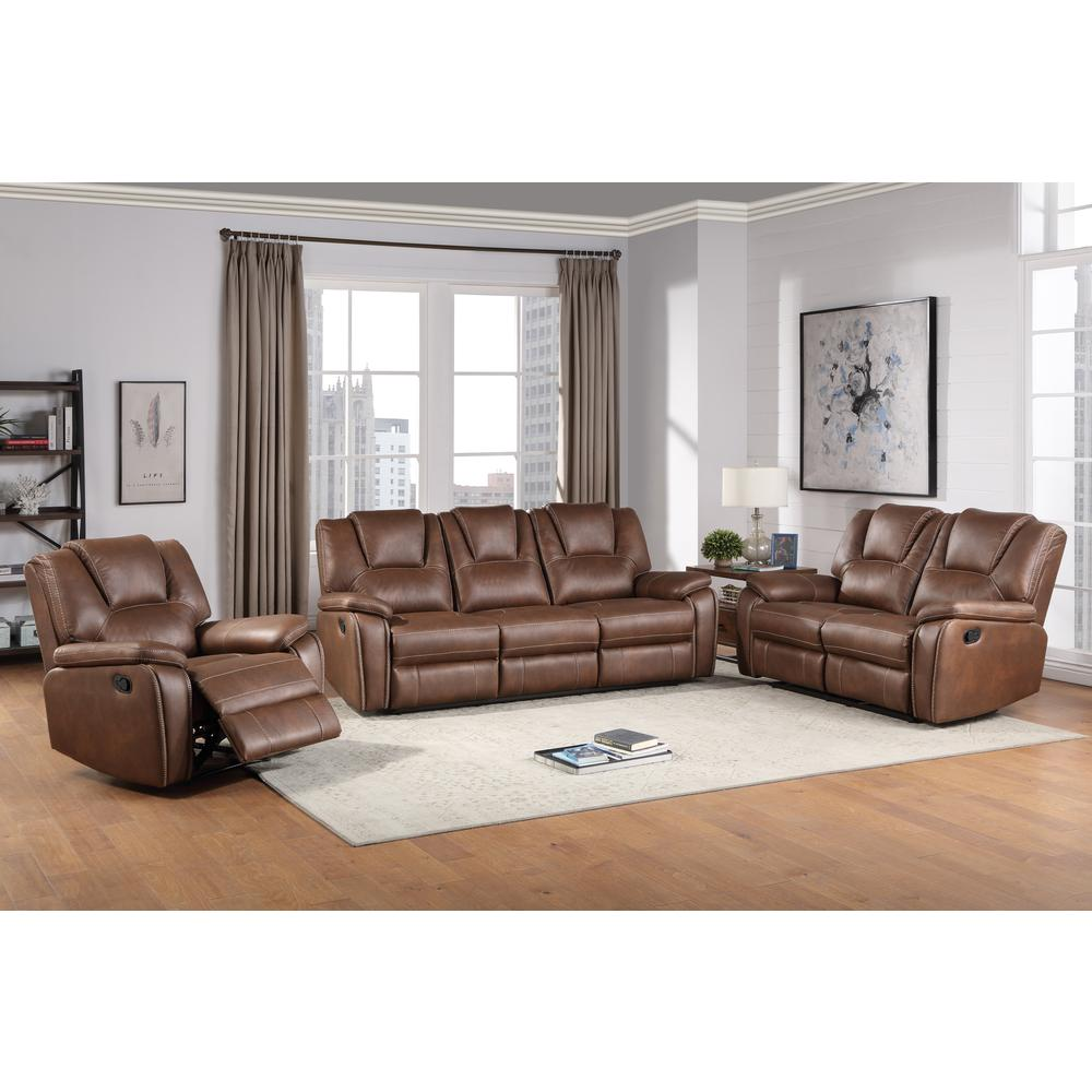 Katrine Reclining Sofa, Loveseat and Chair Set - Brown. Picture 1