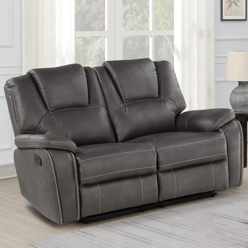 Katrine Manual Reclining Loveseat - Charcoal. Picture 1