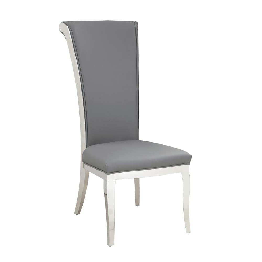 Modern Tall Rolled Back Side Chair - Set Of 2, Gray