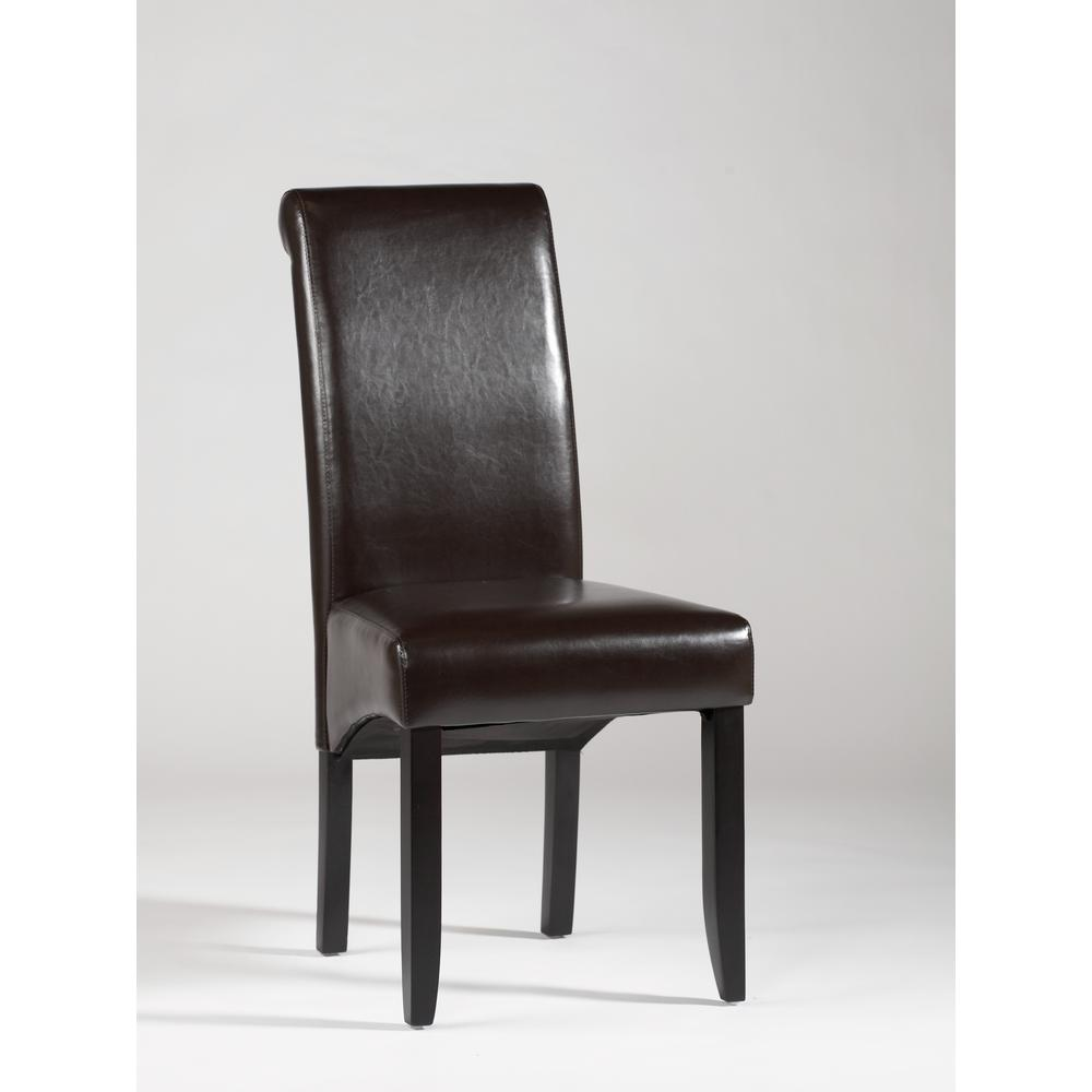 Rolled Back Parson Chair - Set Of 2, Brown. Picture 1