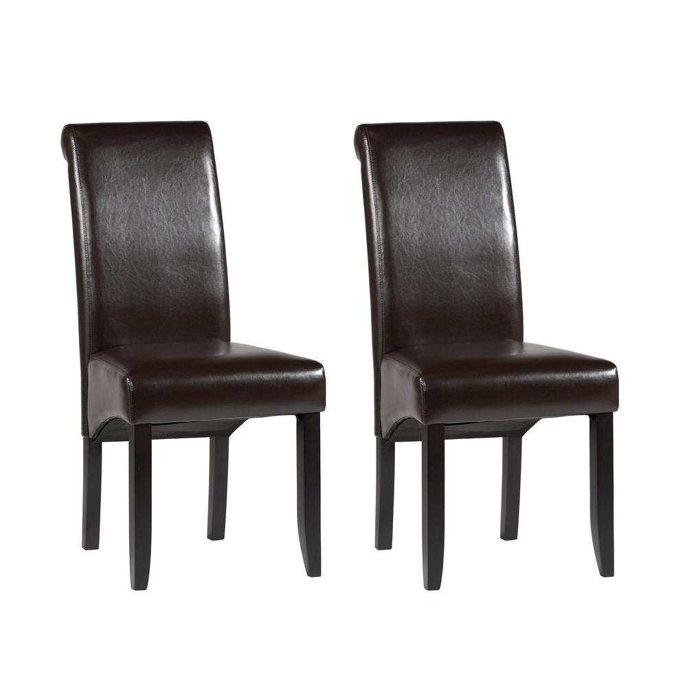 Rolled Back Parson Chair - Set Of 2, Brown. Picture 2