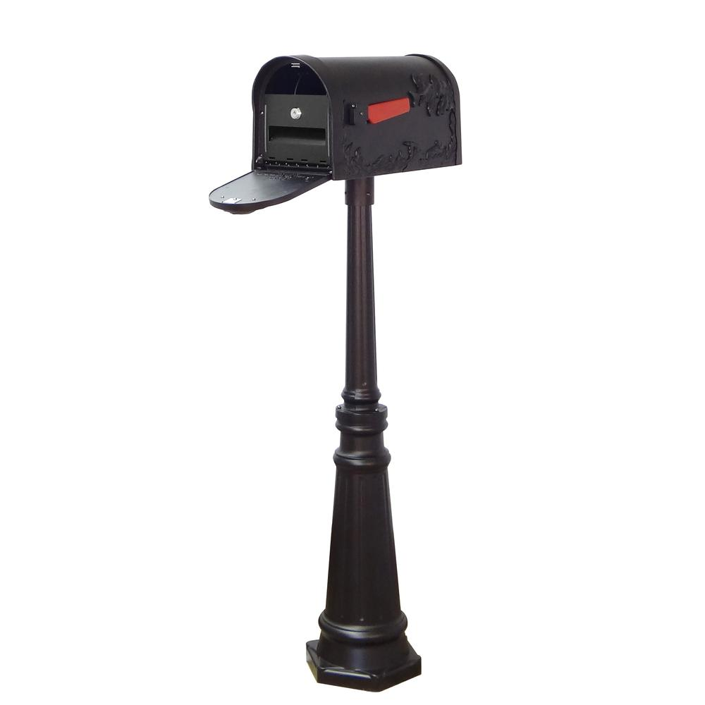 Tacoma Surface Mount Mailbox Post with Base Decorative Aluminum Top Mounting. Picture 1