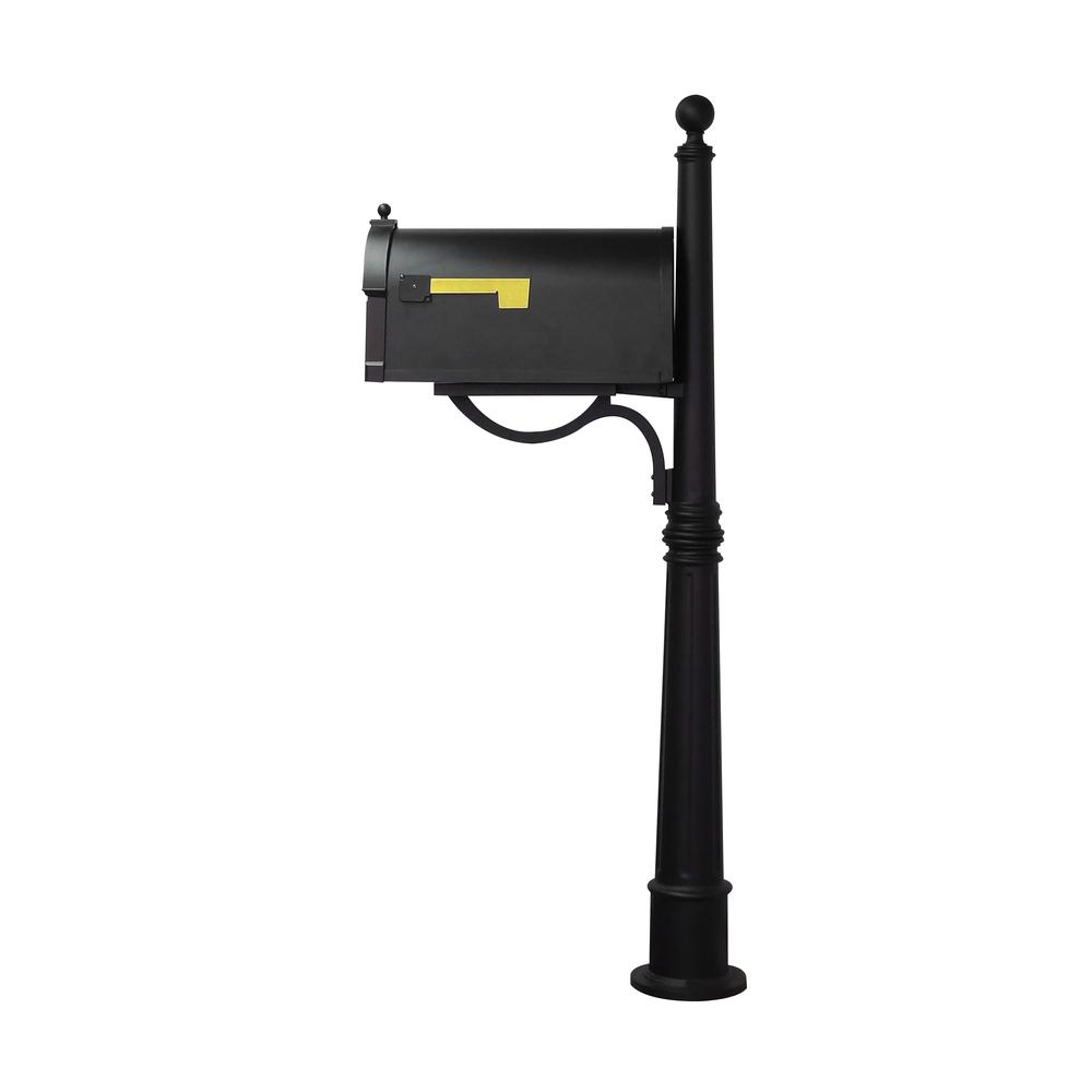 Ashland Decorative Aluminum Durable Mailbox Post with Ball Topper, Base and Mounting Bracket. Picture 10