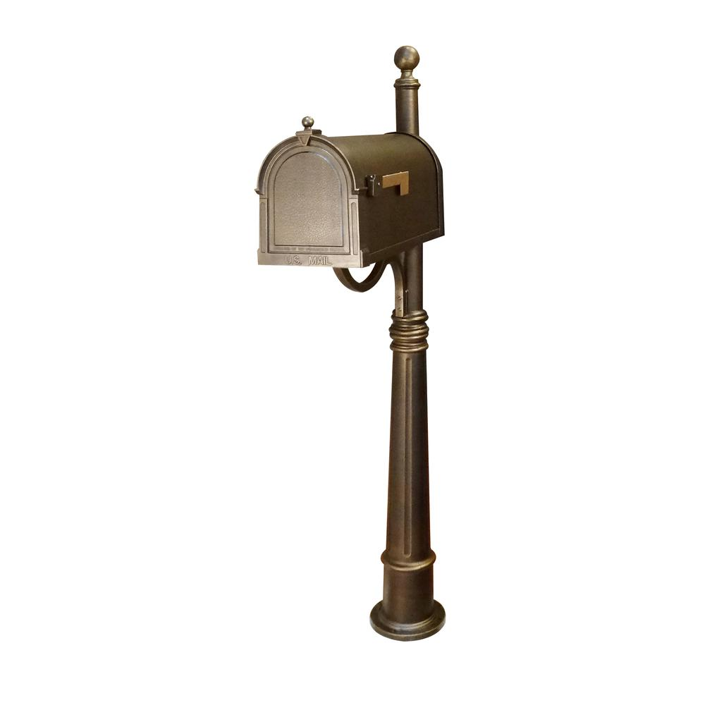 Ashland Decorative Aluminum Durable Mailbox Post with Ball Topper, Base and Mounting Bracket. Picture 2