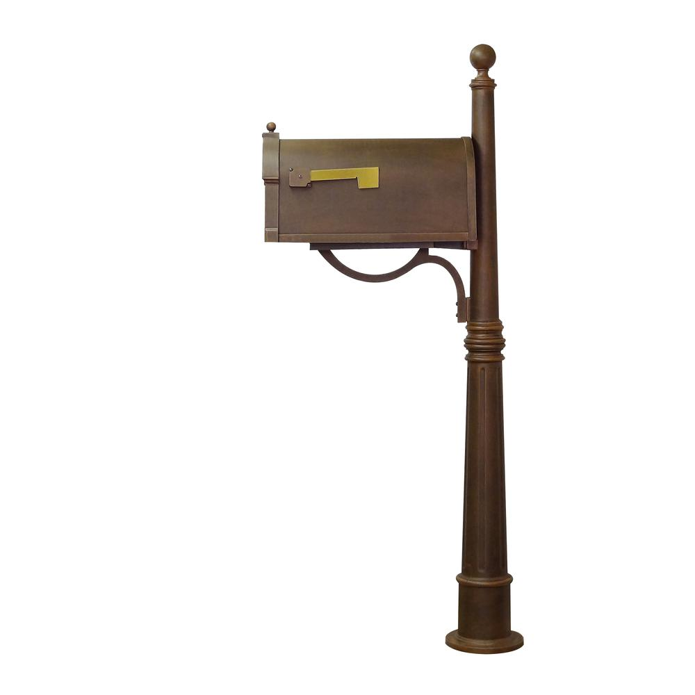 Ashland Decorative Aluminum Durable Mailbox Post with Ball Topper, Base and Mounting Bracket. Picture 5