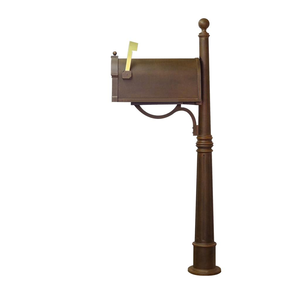 Ashland Decorative Aluminum Durable Mailbox Post with Ball Topper, Base and Mounting Bracket. Picture 6