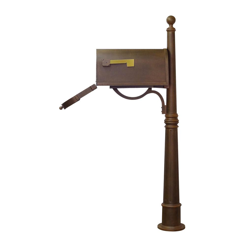 Ashland Decorative Aluminum Durable Mailbox Post with Ball Topper, Base and Mounting Bracket. Picture 7