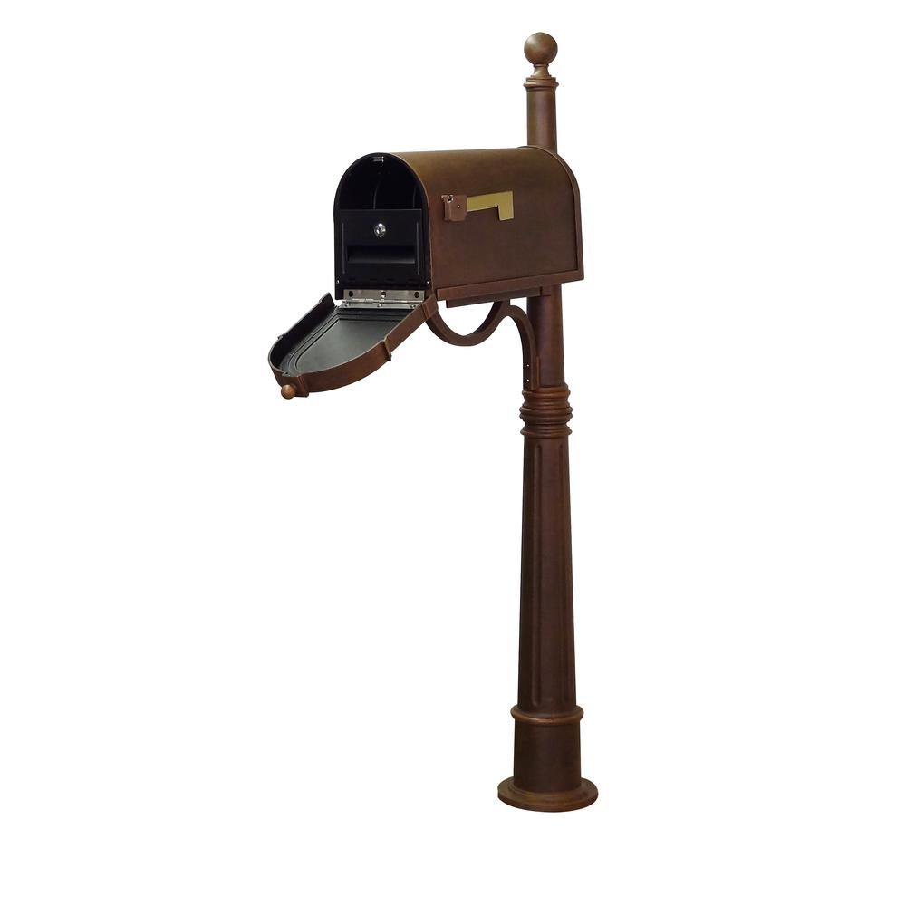 Ashland Decorative Aluminum Durable Mailbox Post with Ball Topper, Base and Mounting Bracket. Picture 1