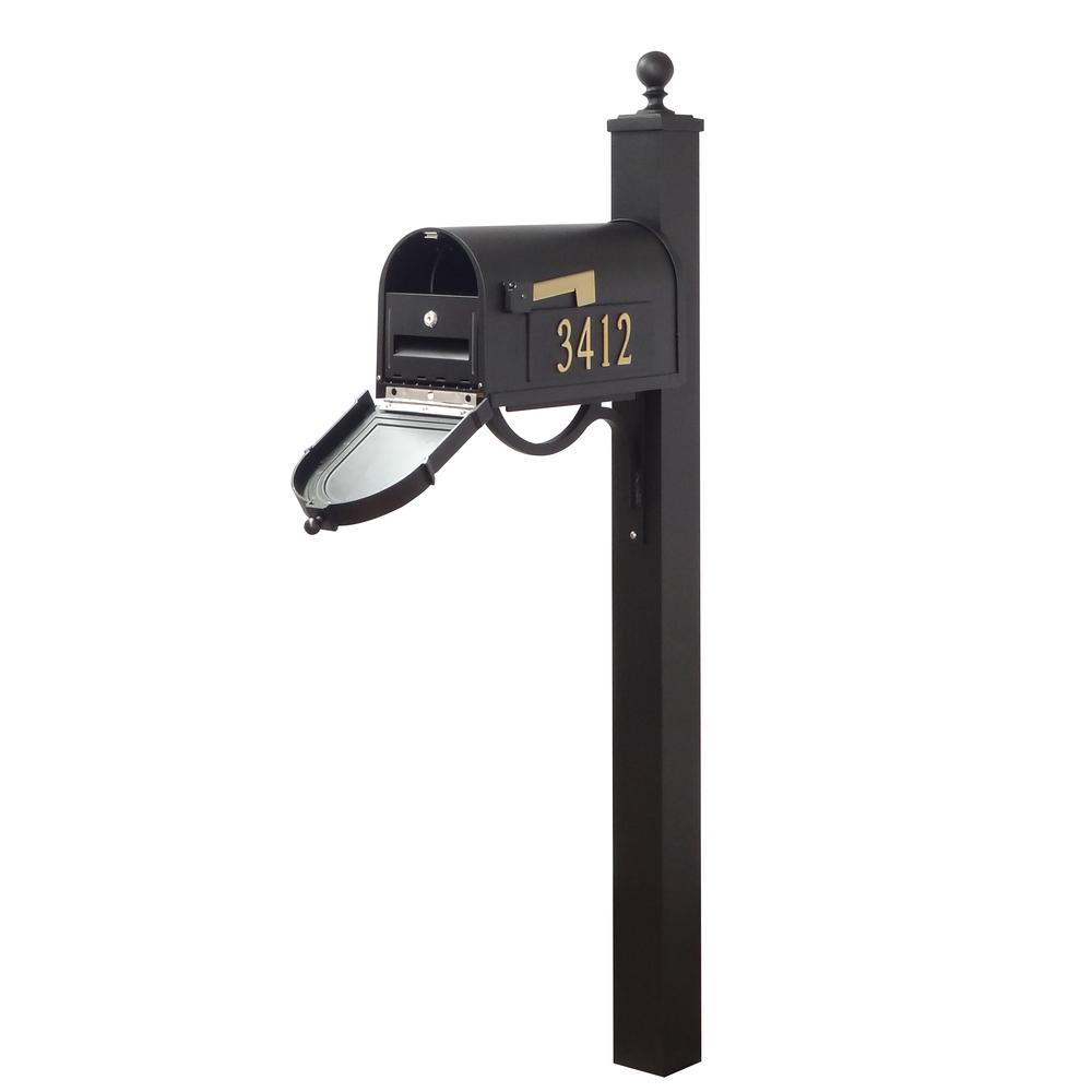 Berkshire Curbside Mailbox with Front and Side Address Numbers, Locking Insert and Springfield Mailbox Post. Picture 1