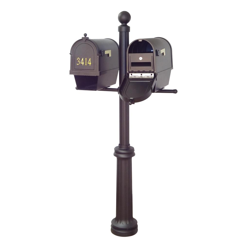 Berkshire Curbside Mailboxes with Front Address Numbers, Newspaper Tube, Locking Inserts and Fresno Double Mount Mailbox Post. Picture 1