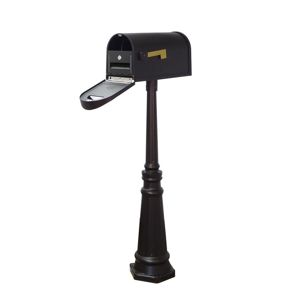 Tacoma Surface Mount Mailbox Post with Base Decorative Aluminum Top Mounting. Picture 10