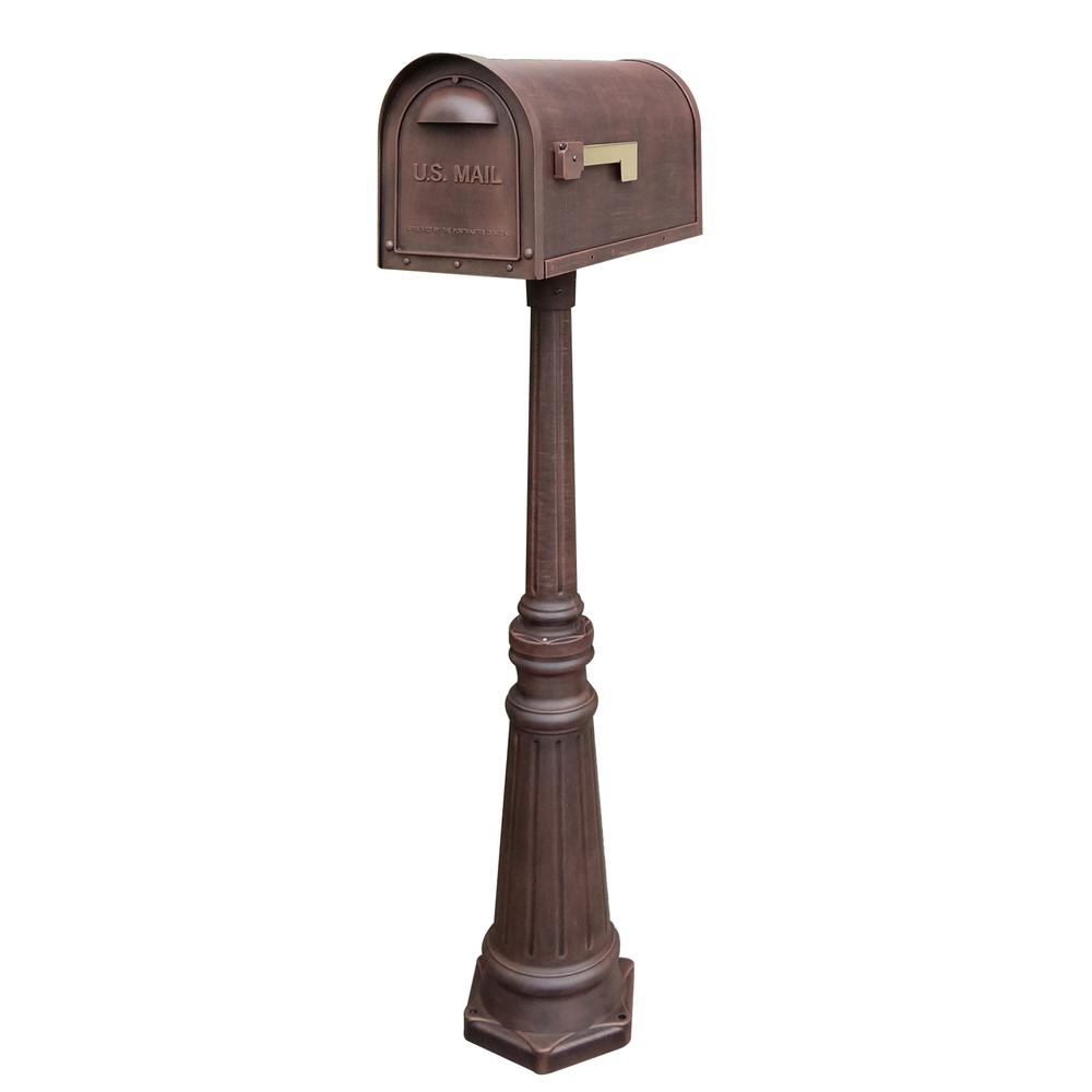 Tacoma Surface Mount Mailbox Post with Base Decorative Aluminum Top Mounting. Picture 2