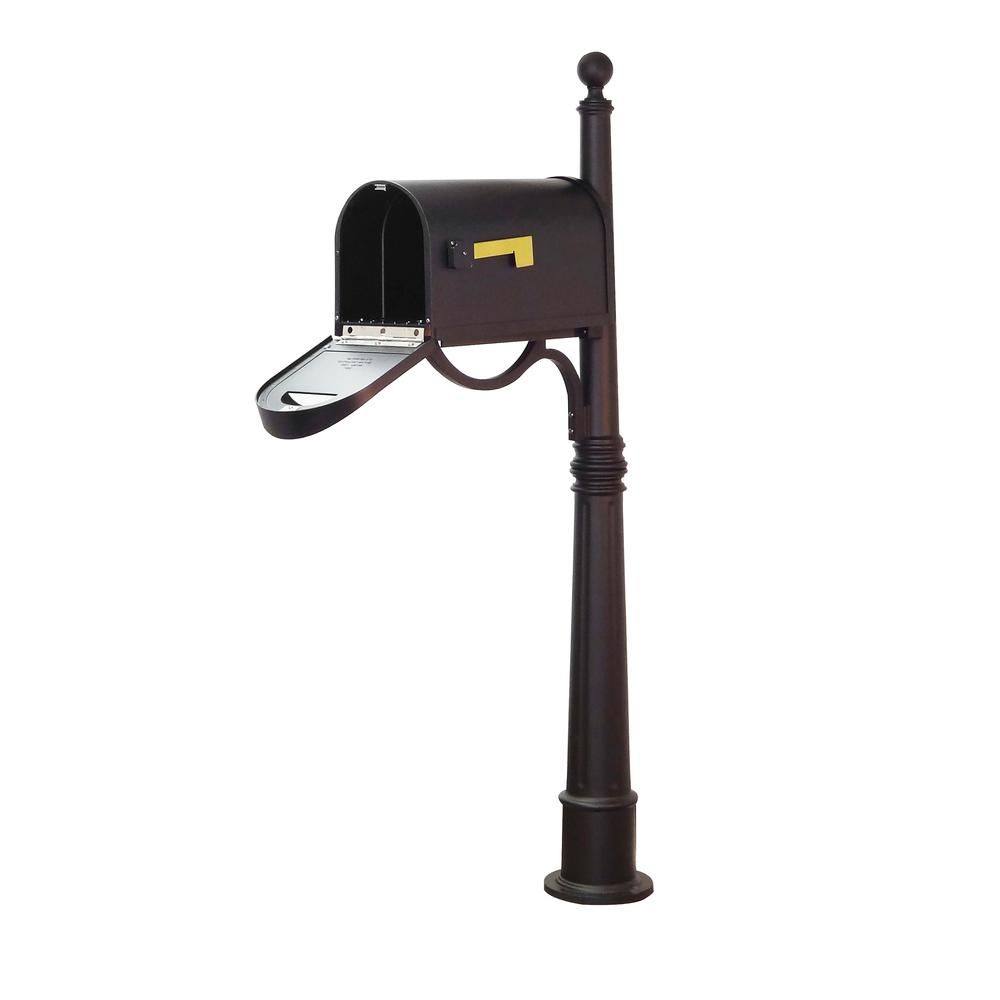 Ashland Decorative Aluminum Durable Mailbox Post with Ball Topper, Base and Mounting Bracket. Picture 13