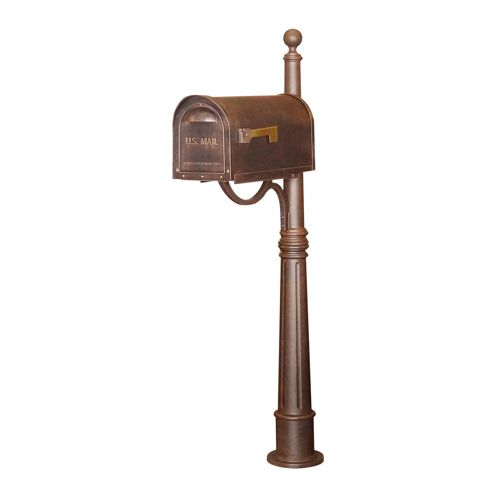 Ashland Decorative Aluminum Durable Mailbox Post with Ball Topper, Base and Mounting Bracket. Picture 9
